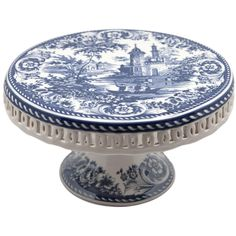 "Blue Toile Cake Stand 8"" D"