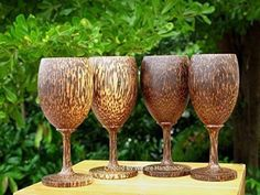Set 4 Handmade Wooden Wine Glass Glasses (Palm Wood) - A Product Features Set 4 pieces Fantastic of Handmade Thai Art Wooden Wine Glasses With Palm WoodDiameter inches , 6 inches high.High Quality Unvarnished and Polish . Christmas Gifts For Couples, Christmas Gifts For Mom, Handmade Wooden, Handmade Gifts, Great Gifts For Mom, Wine Glass, Unique Gifts, Palm, Glasses