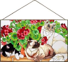 Joan Baker Designs AP398 Cats and Geraniums Glass Art Panel, 16 by 10-Inch