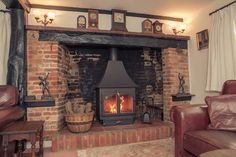 Clearview 650 High Canopy in an inglenook fireplace in Bledlow Ridge, Bucks. Wood Stove Hearth, Wood Burner Fireplace, Brick Hearth, Inglenook Fireplace, Cottage Fireplace, Rustic Fireplaces, Fireplace Hearth, Fireplace Design, Fireplace Ideas