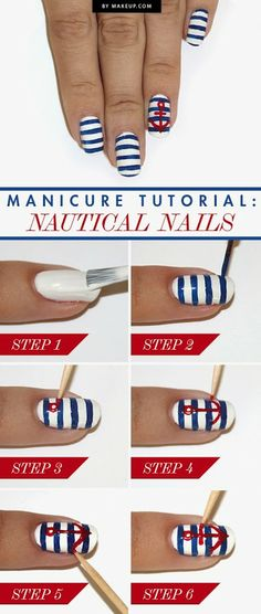 Nautical nails mani - Google+