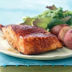 The smoky-sweet flavor in this grilled salmon recipe comes from the combination of ancho chili powder and maple syrup that's brushed on...