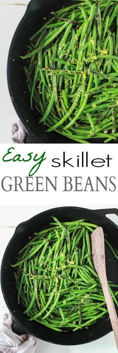You are just 15 minutes and 5 ingredients from these Healthy Skillet Green Beans! An easy one pot recipe with fresh lemon, red pepper flakes and garlic. | joyfulhealthyeats.com #glutenfree #paleo