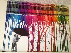Crayola crayon melting on canvas using hair dryer. Perfect for boyfriend / girlfriend birthday or anniversary!