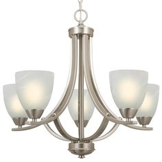 """Kira Home Weston 24"""" Contemporary 5-Light Large Chandelier + Alabaster Glass Shades, Adjustable Chain, Brushed Nickel Finish"""
