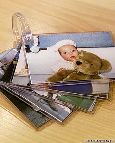 DIY- Create Baby Photo Album Ring using sports card protectors and shower curtain ring