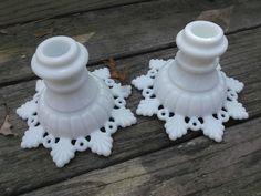 Westmoreland Ring and Petal Vintage Milk Glass Candlesticks Candleholders