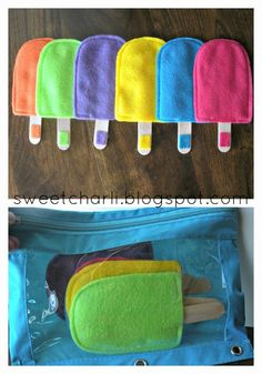 Here is another one of my favorites, colored felt popsicles.  This is such a fun game to help match colors.  Just use felt and large popsicle sticks.  Just sew the felt popsicle except for the part where the stick inserts.  The stick is removable so that the kids have to match what color it belongs to. Sweet Charli: My Busy, Busy Bag for Church.
