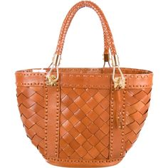 Pre-owned Michael Kors Santorini Woven Tote ($345) ❤ liked on Polyvore featuring bags, handbags, tote bags, brown, michael kors tote, brown leather purse, woven leather tote, leather tote handbags and michael kors handbags