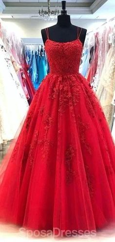 Spaghetti Straps Red A-line Cheap Evening Prom Dresses, Evening Party – SposaDresses #prom #promdresses #promdresseslong #promdressescheap #Dressesformal #fancydresses #promdresses2020 #eveningdresses #prom2020 #partydreses #red