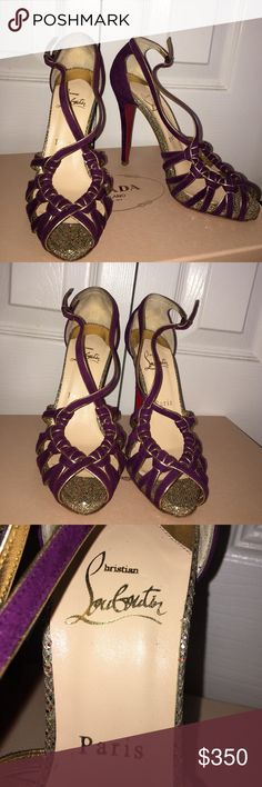 Christian Louboutin Purple Suede Glitter Heels Authentic Gorgeous Christian Louboutin Purple Strappy Suede Heels with Gold and Glitter trim detail. Only wore 2 times size 36/6 . Please note CL's run small. Christian Louboutin Shoes Heels