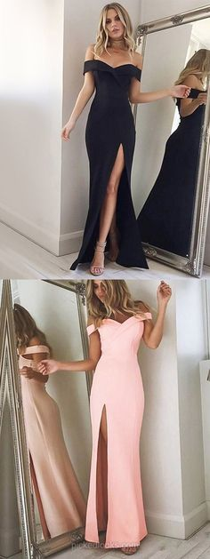 Long Ball Dresses Black, Off-the-shoulder Prom Dresses 2018, Satin Evening Dresses, Chiffon Formal Dresses Cheap