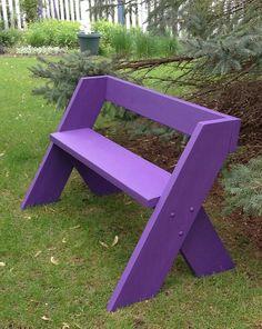 Purple simple garden bench