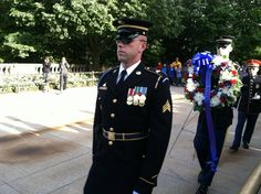 Arlington National Cemetery Sentinels prepare for wreath ceremony.