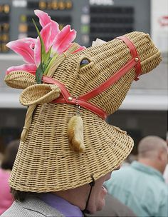 """I found this laundry basket lid at the import store and I immediately thought, """"OMG - this would make a great hat for the Derby!"""" -- Kentucky Derby Craziest racing hats ever - NY Daily News Kentucky Derby Fashion, Kentucky Derby Hats, Crazy Hats, Big Hats, Funny Hats, Derby Day, Derby Time, Diane, Fascinator Hats"""