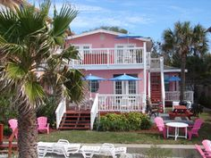 The Pink Rose is the upstairs Suite of the Granger House as seen by from the beach of the Gulf of Mexico in Indian Rocks Beach Florida