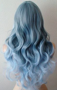 Items similar to Pastel Blue Ombre wig. long curly blue wig with side bangs. on Etsy Curly Blue Hair, Curly Hair Styles, Baby Blue Hair, Pastel Blue Hair, Blonde Hair, Silver Blue Hair, Pastel Wig, Silver Ombre, Emo Hair