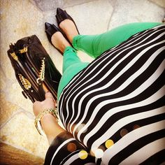striped shirt & colored jeans...maybe I could pull this off