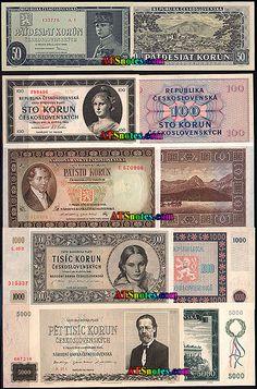 Czechoslovakia banknotes, Czechoslovakia paper money catalog and Czechoslovakian currency history Money Worksheets, Puerto Rico History, Bratislava, Stamps, Catalog, Retro, Coins, Paper Envelopes, Nostalgia