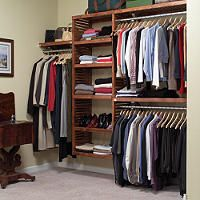 Solid Wood Walk-in Closet Organizer - Mahogany