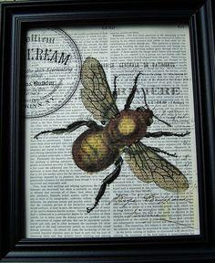 Bee Collage Print 8X10