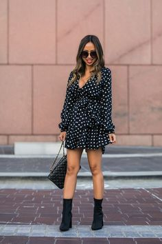 lace and locks, petite fashion blogger, polka dot dress, nordstrom fall fashion, black sock booties, cute fall look, orange county blogger, nordstrom dress Urban Fashion Women, Fashion For Petite Women, Fashion Tips For Women, Fashion Black, Autumn Fashion, Trendy Outfits, Fashion Outfits, Black Dress Outfits, Trendy Plus Size Clothing