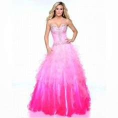 Ombre colored gown has a jeweled, strapless bodice with glittering accents at the bust and waist. The dramatic skirt cascades in tiered layers to the floor. Plus Size Prom, Plus Size Dresses, Prom 2014, Ombre Color, Prom Night, Prom Dresses, Formal Dresses, Ball Gowns, Bodice