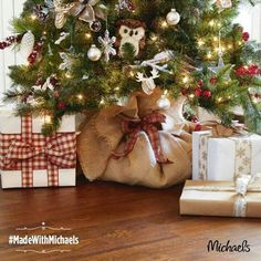 Instead of a tree skirt, use burlap and tie it up with a bow!