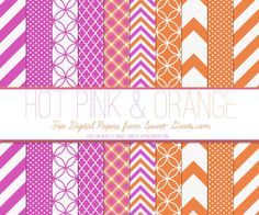Sweet Nothings: FREE DIGITAL PAPER SET: HOT PINK AND ORANGE - more colors available