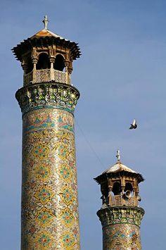 Qazvin mosque minarets Iran Traveling Center irantravelingcent... #iran #travel #traveltoiran