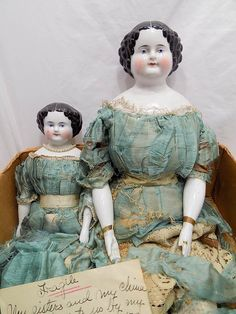 Antique German China Head Doll Dolls With Provenance 1872 Twins from mylittledolls2 on Ruby Lane