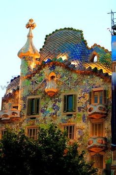 house, Gaudi-designed building in Barcelona.