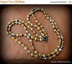 Sale Picture Jasper and Sterling Necklace Double Strand Picture Jasper Necklace Caramel and Cream Striped Jasper Beads Necklace For Her Gift