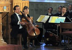 Musician Yo-Yo Ma performs (Bach's Cello Suite No. 5 in C Minor) during a ceremony dedicated to those who were gravely wounded or killed in the Boston Marathon bombing.