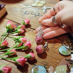 Dried rose flower earrings sincere workshop jewelry epoxy resin