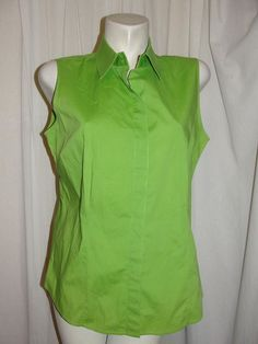 Chico's Bright Green Stretch Cotton Sleeveless Button Top Shirt Size 2 Large #Chicos #ButtonDownShirt #Casual