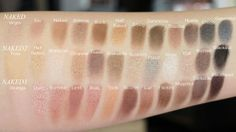 Urban Decay Naked, Naked2 and Naked3 palette swatches. Picture from http://makeupmarlin.blogspot.dk/2013/12/urban-decay-naked3-palette.html