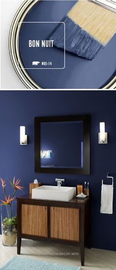 master bedroom paint colors Bring a sense of elegance and drama into your home decor with the newest Color of the Month: BEHR Paint in Bon Nuit. This dark blue paint color ev Bedroom Paint Colors, Paint Colors For Home, House Colors, Bathroom Colors, Bathroom Ideas, Bathroom Spa, Paint Bathroom, Spa Paint Colors, Paint Walls