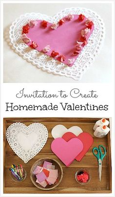 If you're looking for easy valentine crafts for kids, here's a really simple and open-ended activity they'll love. Grab some crafting materials and set up this invitation to create homemade valentines! Valentine Crafts For Kids, Valentines Day Activities, Homemade Valentines, Valentines For Kids, Valentine Wreath, Valentine Box, Valentine Ideas, Saint Valentine, Valentine Decorations