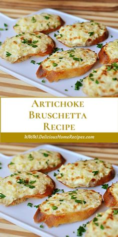 Artichoke Bruschetta INGREDIENTS : 1 teaspoon garlic salt 1 package of cream cheese, softened 1 cup mayonnaise 1 can of artichoke hearts (whole, halves, or quarters), drained Finger Food Appetizers, Yummy Appetizers, Appetizers For Party, Finger Foods, Appetizer Recipes, Appetizer Dessert, Best Bruschetta Recipe, Bruchetta Recipe, Antipasto