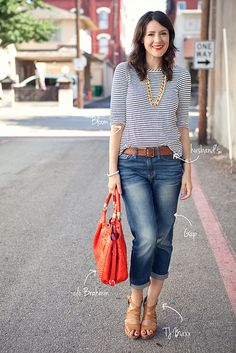 I love the jeans rolled up look for a cool day in the summer or early fall. Easy look too!