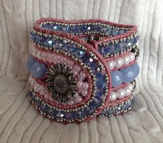 5 Row Pink LEATHER Light Amethyst Wrap Bracelet Cuff: Faceted Glass Beads, Crystals, Czech Glass, Antique Silver Accents, OOAK Gift for Her