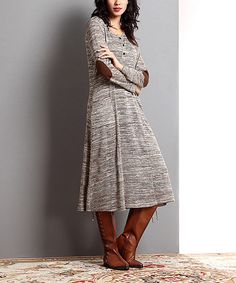 Reborn Collection Oatmeal Mélange Elbow Patch Button-Front Dress | zulily