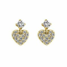 14K Yellow Gold Plated Heart CZ Stud Earrings with Screw-back for Children & Women The World Jewelry Center. $12.95. Screw Back. Promptly Packaged with Free Gift Box and Gift Bag