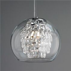For bathroom Glass Globe & Crystal Pendant Light Elegant and sophisticated, with a modern look for today's interiors, this unique pendant light glimmers with tiers of crystal pendalogues inside a clear glass globe. A smart look, with easy cleaning! Crystal Pendant Lighting, Mini Pendant Lights, Glass Pendant Light, Glass Pendants, Chandelier Lighting, Chandeliers, Globe Pendant, Chandelier Shades, Light Design
