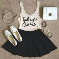 Having a simple tank with a cute, little comment always looks good when put together appropriately. Accessorising the outfit with stylish pieces of jewellery and fun flats is a perfect outfit for teenagers in 2014/15.