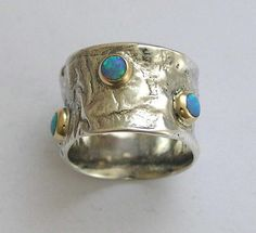 Sterling silver wide band with yellow gold and blue opals -  Dreamy 2.