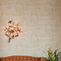 Cow Parsley Restyled Wallpaper Oat wallpaper with white cow parsley print.