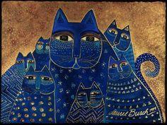 Laurel Burch  fue una artista norteamericana aficionada a pintar gatos en sus obras. Precisamente estos los he visto en la portada de una...