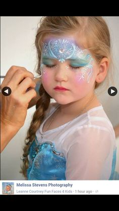 Look how beautiful – wait until she looks in the mirror. Frozen face paint – ww… Look how beautiful – wait until she looks in the mirror. Birthday Party Treats, Frozen Themed Birthday Party, Face Painting Tutorials, Face Painting Designs, Eye Painting, Painting For Kids, The Face, Face And Body, Frozen Face Paint